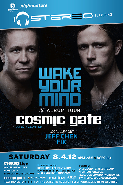 Opening Act for COSMIC GATE 8.4.12 (Booked as Jeff Chen)